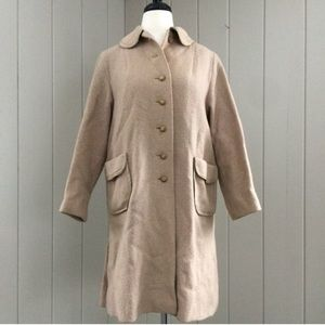 Vintage 1960s Car Coat Tan Single Breasted Buttons